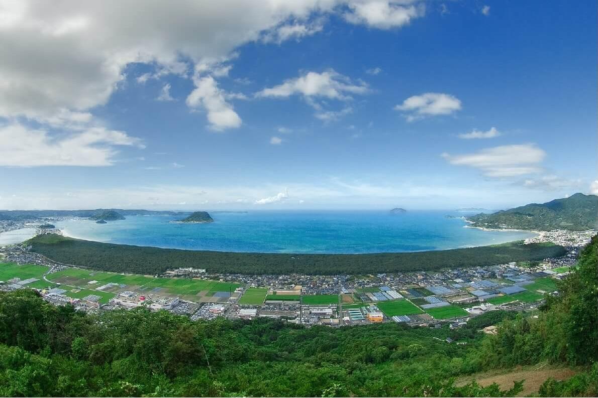 Vista dal monte Kagami, dove è ambientata parte della leggenda d'amore giapponese tra Sayohime e