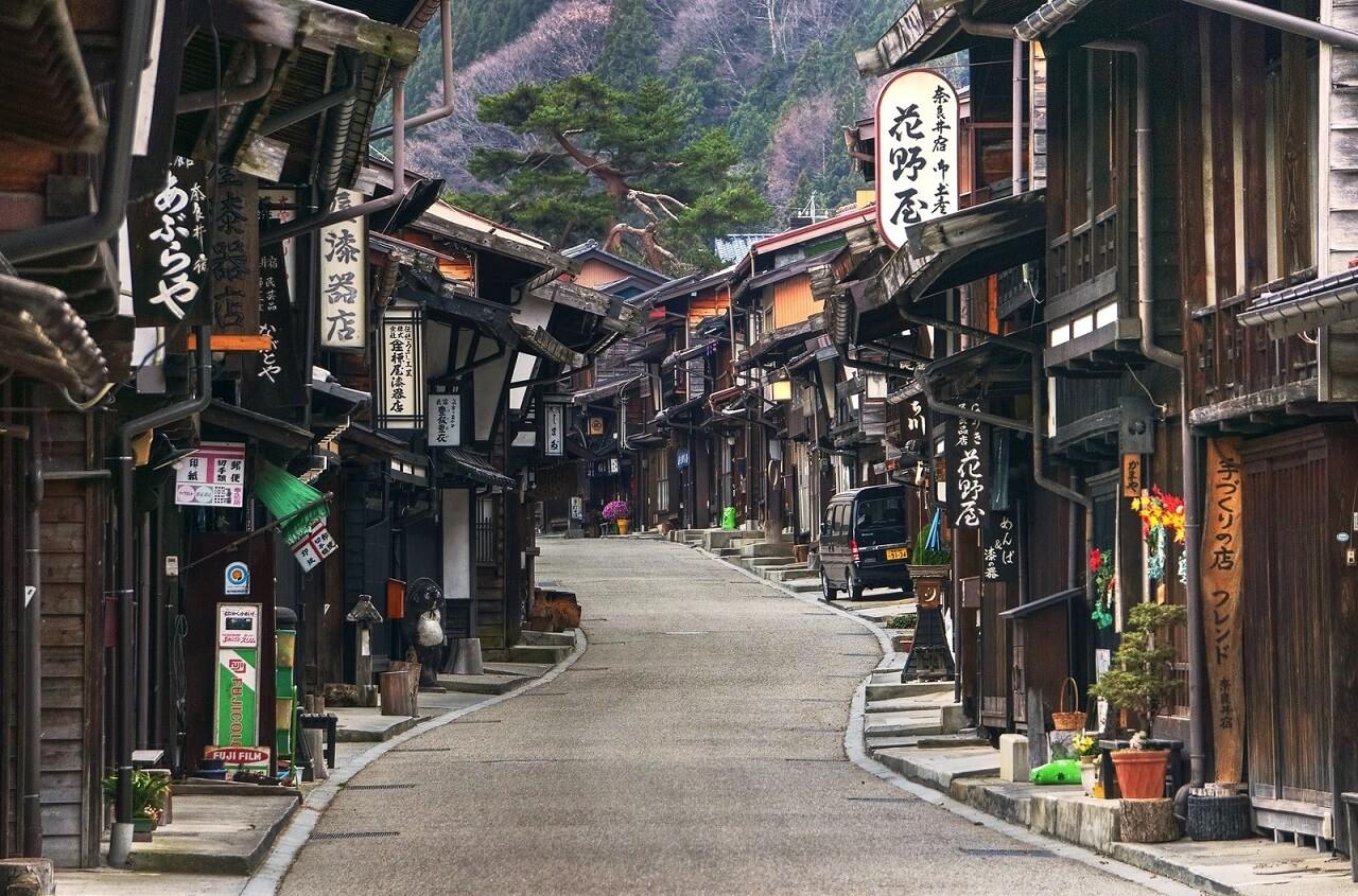 Narai-juku, cittadina lungo la via del Nakasendo, che attraversava la Alpi giapponesi