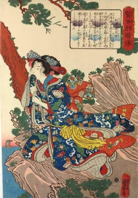 Sayohime osserva le navi allontanarsi, una delle parti più drammatiche di questa leggenda d'amore giapponese. Autore: Utagawa Kuniyoshi