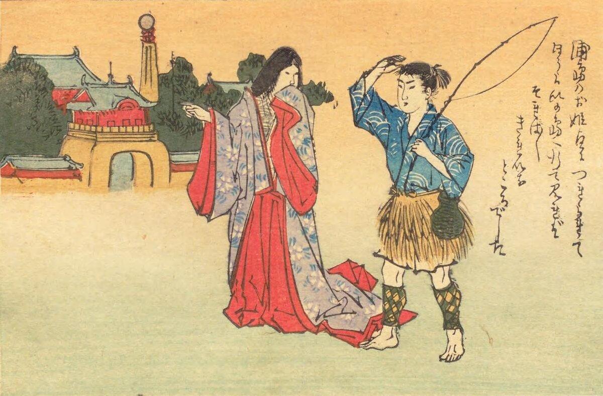 La dea indica a Urashima l'isola di Horai. Qui i due sposi vivranno felicissimi per tre anni