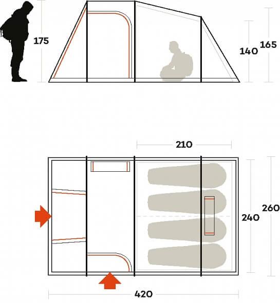 Tenda da campeggio 4 posti Ferrino meteora: le caratteristiche tecniche