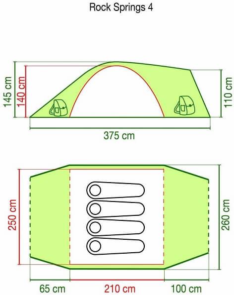 Tenda 4 posti Coleman Rock Springs: le caratteristiche tecniche