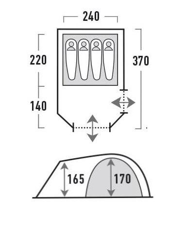 Tenda 4 posti High Peak Tessin: caratteristiche tecniche