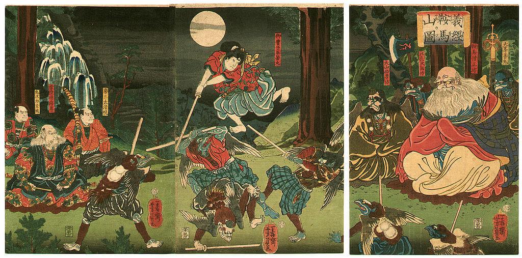 Il samurai Yoshitsune viene addestrato dai tengu, sul monte Kurama