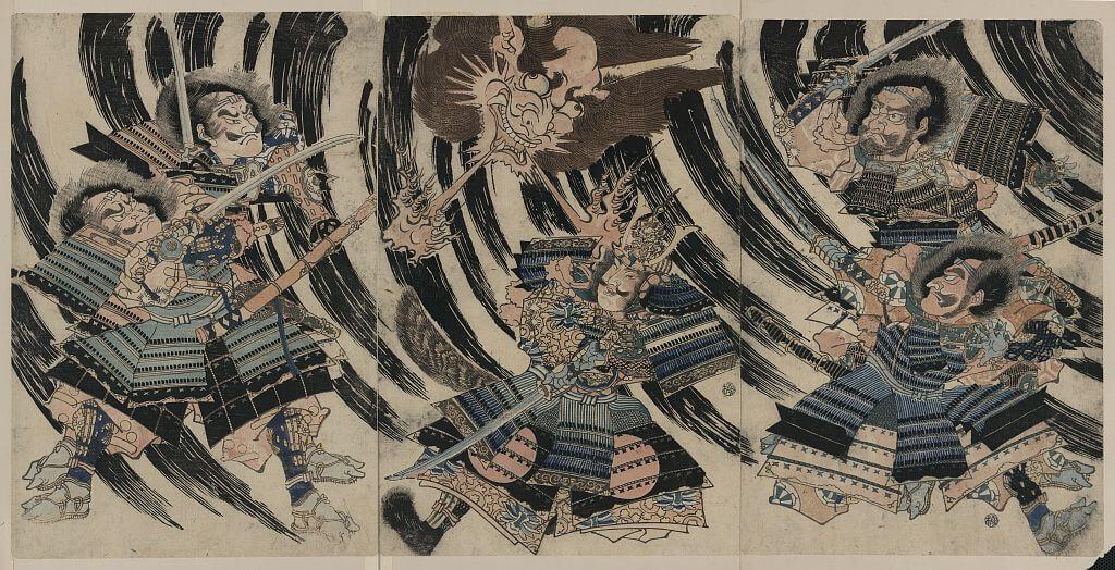 Minamoto no Yorimitsu combatte il demone Shutendoji. Raffigurati i protagonisti di una famosa leggenda giapponese