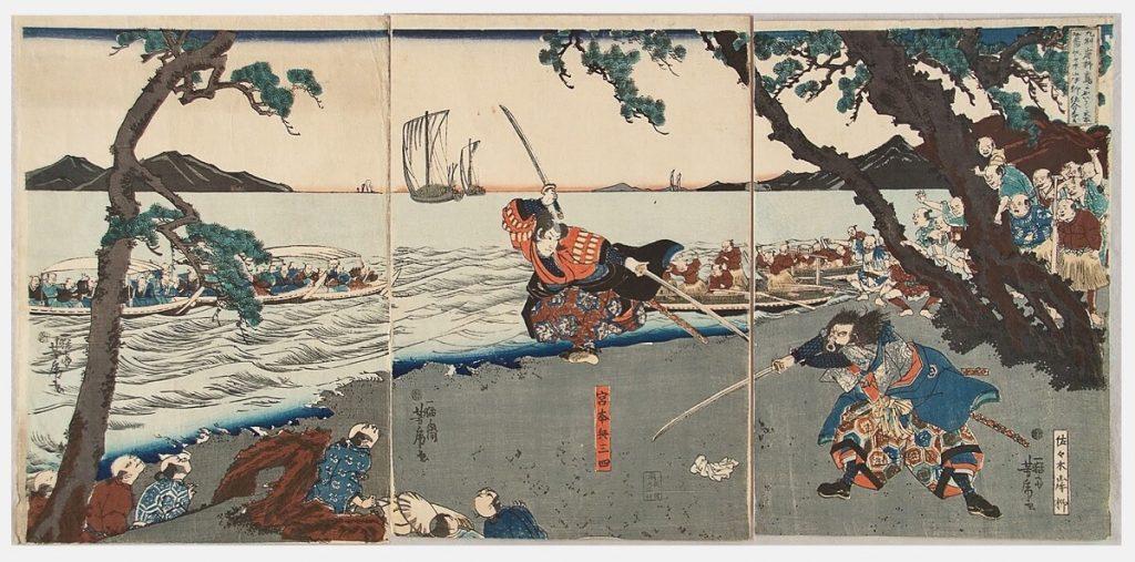 Il duello tra Miyamoto Musashi e Sasaki Kojiro. Musashi era considerato il samurai più abile con la spada