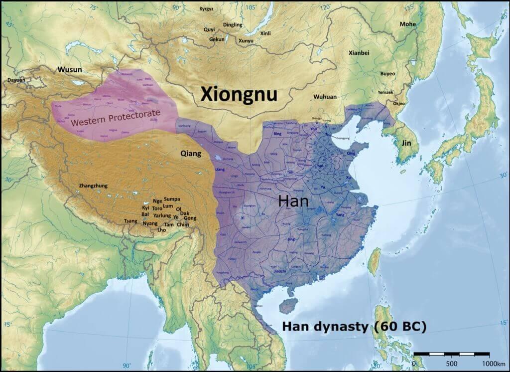 Impero cinese nel 60 a.C., un importante periodo nella storia della via della seta