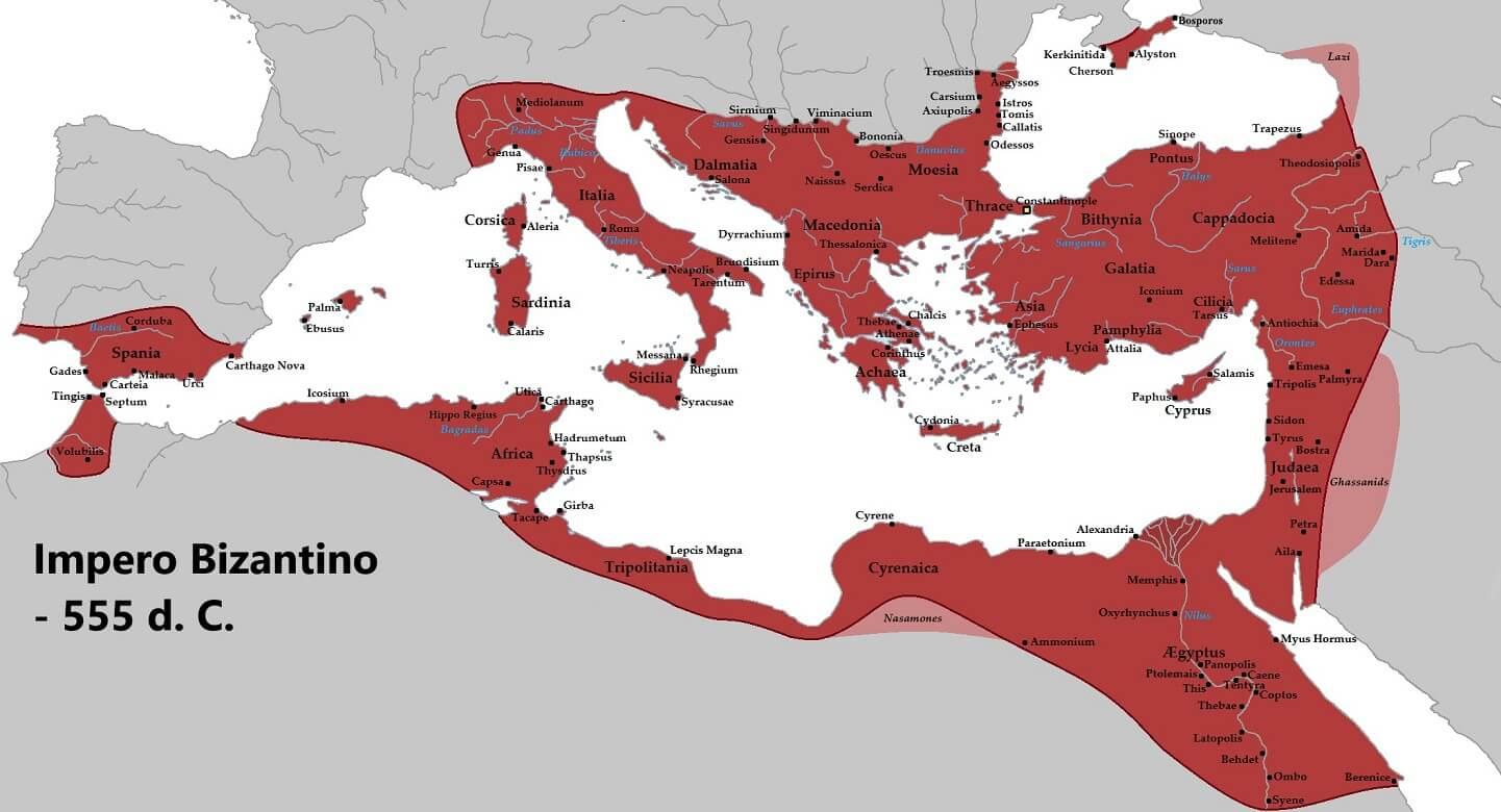 Mappa dell'Impero Bizantino nel 555 d.C., che all'epoca iniziò una propria produzione di seta