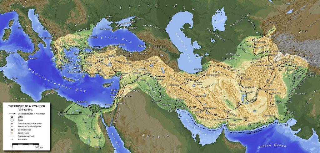 Una mappa dell'impero di Alessandro Magno nella sua massima estensione (323 a.C.)