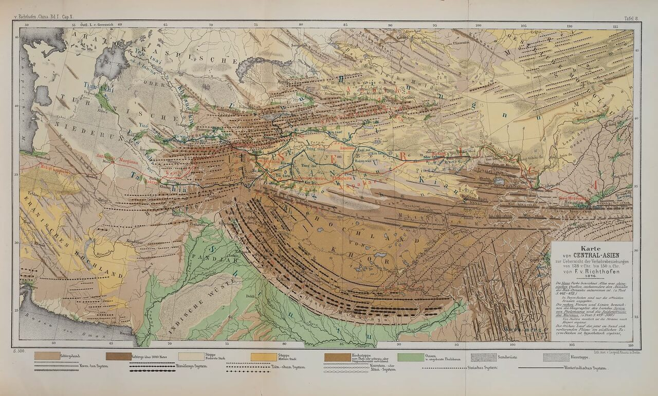 La prima mappa della via della seta, di Ferdinand von Richtofen, pubblicata nel 1877