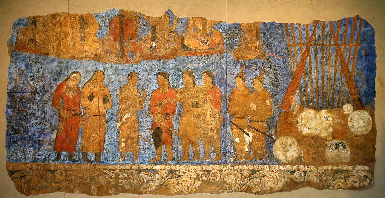 Pittura murale presso l'Ambassador's Hall di Afrosiab, Samarcanda, famosa città dell'antica via della seta