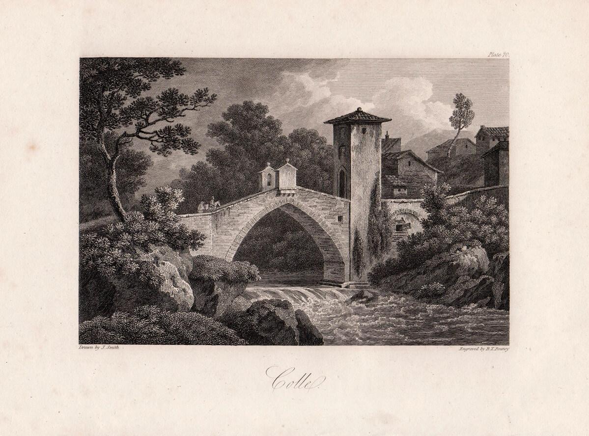 Incisione di Benjamin Thomas Pouncy che rappresenta il ponte di Spugna, oggi visibile lungo il Sentierelsa